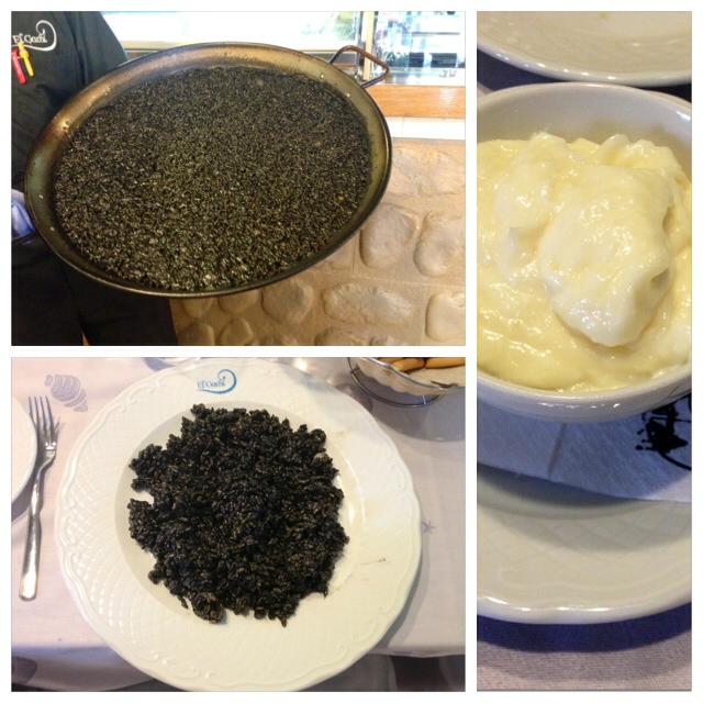 Arroz negro con sepionet. Bueno, pero los he probado mejores. Black rice with cuttlefish. Good but not the best I've tried. Schwarzer Reis mit Tintenfisch. Gut, aber nicht die beste, die ich bisher ausprobiert habe.