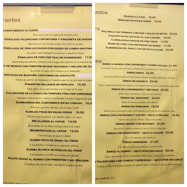 Carta. Bastante apetecible, pero no me gustaron los tachones de tippex. Menu. Pretty tempting, but I did not like the studs of tippex. Menü. Ziemlich verlockend, aber die tippex Stollen waren nicht so schön.