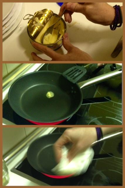Cómo poner la mantequilla en la sarten.