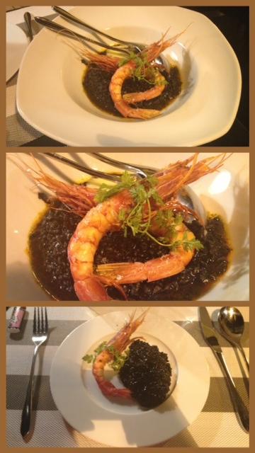 Estupendo arroz negro, pero... ¿de verdad era con carabineros? Great black rice, but ... were there really scarlet shrimps? Guten schwarzen Reis, aber... sind diese wirkliche Rote Riesengarnele?