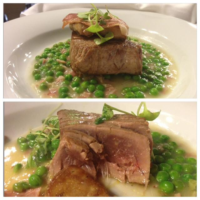 Atún con foie y guisantes. Tuna with foie and peas. Thunfisch mit Foie und Erbsen.