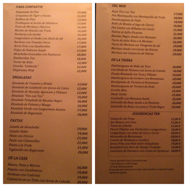 Carta. Menu. Menü.