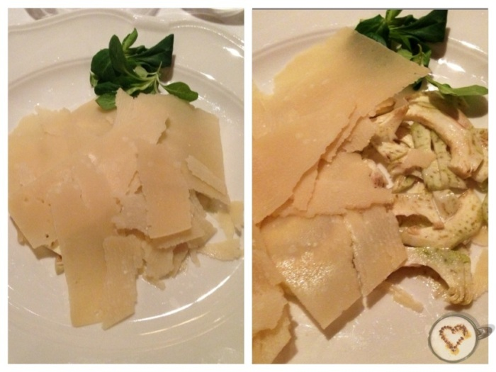 Carpaccio de alcachofas con láminas de parmesano. Artichoke carpaccio with sliced parmesan. Artischockenscarpaccio mit geschnittenen Parmesan.