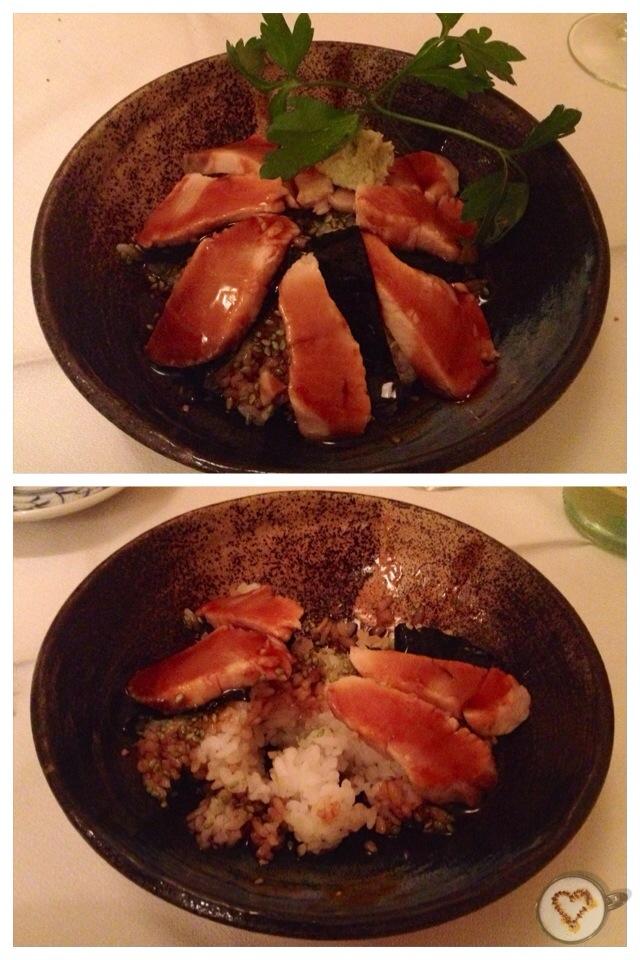 Hamachidon: tataki de pez limón con salsa teriyaki y arroz (11,20€). Hamachidon: yellowtail tataki with teriyaki sauce and rice. Hamachidon: Gelbschwanz tataki mit Teriyaki-Sauce und Reis.