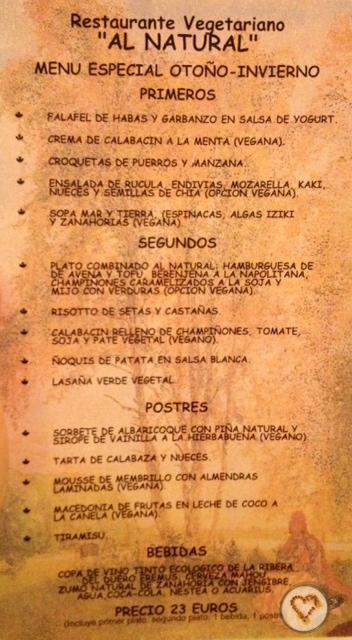 Menú del día (23€). Daily menu. Tageskarte.