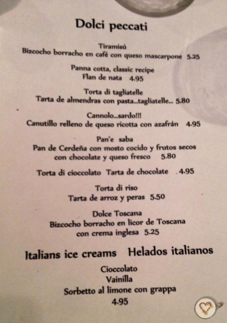 Carta de postres. Dessert menu. Nachspeise-Menü.