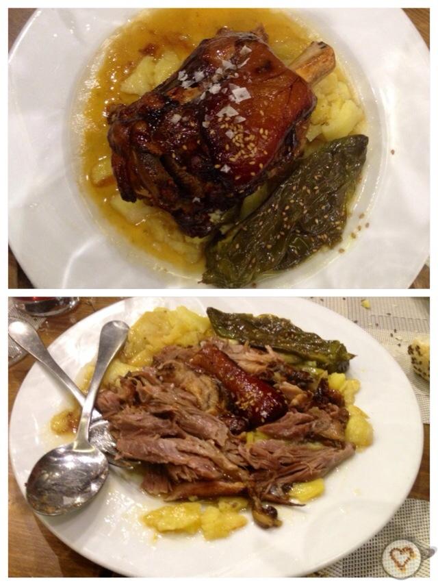 Codillo de cerdo a la brasa (17€). Grilled knuckle of pork. Schweinshaxe vom Grill.