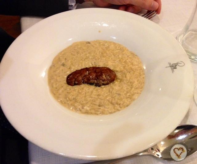 Arroz cremoso con setas y foie (16€). Fantástico. Creamy rice with mushrooms and foie. Cremiger Reis mit Pilzen und Gänsestopf.