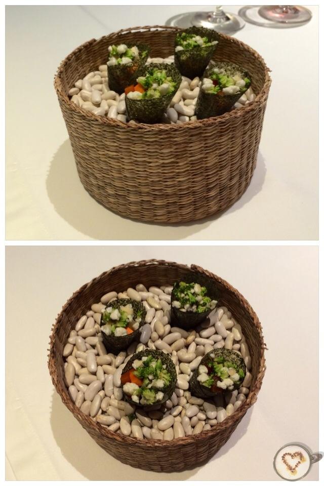 Crujiente de algas con hortalizas encurtidas. Crispy Seaweed with pickled vegetables. Knusprige Algen mit eingelegtem Gemüse.