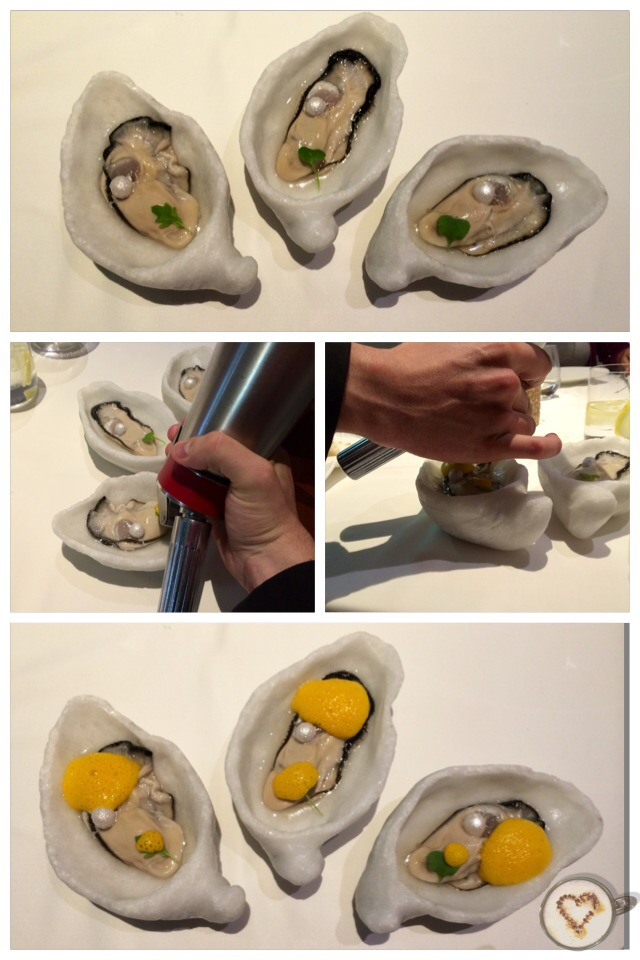 "Ostras ""aliñás"" (18€). Oysters with ceviche foam and pearl of yogurt. Austern mit Cevicheschaum und Joghurtperle."