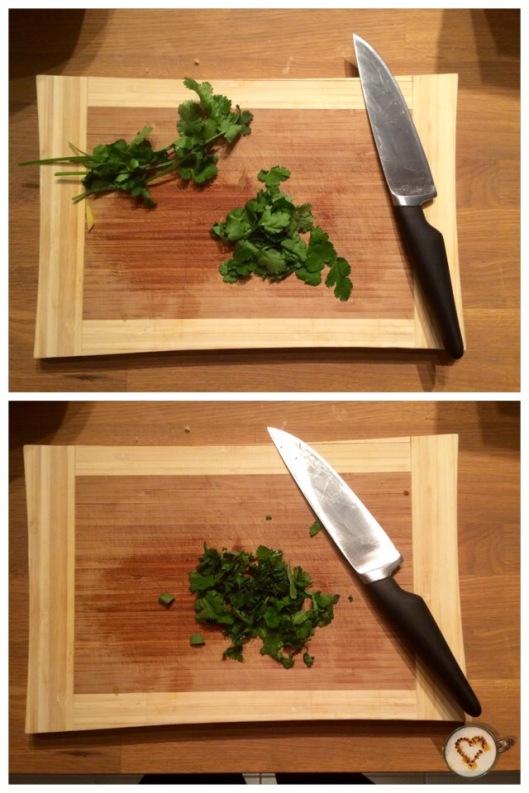 Cortar las hojas de cilantro