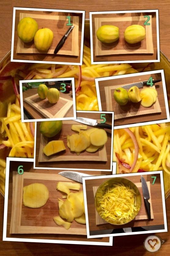 Como cortar el mango en juliana