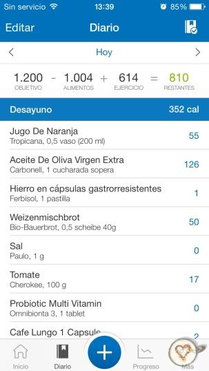 Cálculo de las calorías de mi desayuno